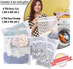 Combo 5 túi lưới giặt đồ loại đại (50X60cm) và loại trung (30x40cm) th1shop