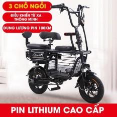 Xe Điện Mini Gấp Gọn Adiman, Xe Đạp Điện Giỏ To 3 Ghế Ngồi, Pin Khủng Lithium 48V-20A