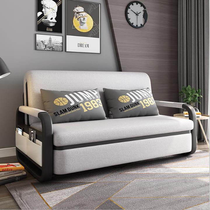 Giường sofa gấp gọn thông minh có hộc đựng đồ và khung thép cường lực sơn tĩnh điện.Giúp tiết kiệm không gian cho căn hộ.KT: 1m3x1m9