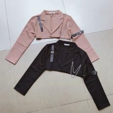 Áo khoác vest da croptop phối dây xích cá tính