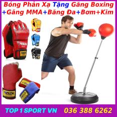 Bóng Đấm Phản Xạ Tự Đứng + Tặng Găng Boxing + Găng MMA + Băng Đa + Bơm Hơi – bảo hành 1 năm