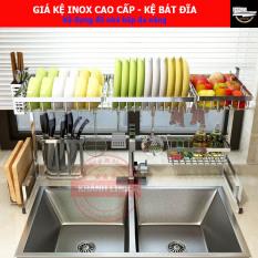 [KỆ INOX] Giá kệ nhà bếp, kệ chén bát đĩa đặt trên chậu rửa – kệ inox 304 cao cấp (cỡ 65cm, 85cm, 91cm) – Màu trắng