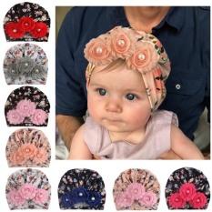 Mũ turban 3 hoa cổ điển siêu yêu cho bé(0-12 tháng)