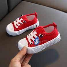Giày cho bé gái màu đỏ chất liệu vải PU, siêu nhẹ chống trơn trượt tốt dành cho bé 1-14 tuổi