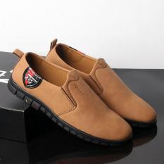 Giày lười nam màu da bò đế đen chất lượng tốt, thiết kế thời trang SG429 Saosaigon giày lười giày mọi