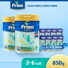 [Mẫu mới] Bộ 2 lon sữa Bột Friso Gold 4 lon thiếc 850G – cho trẻ từ 2-6 tuổi + Tặng 2 lốc sữa bột pha sẵn Friso 180ml