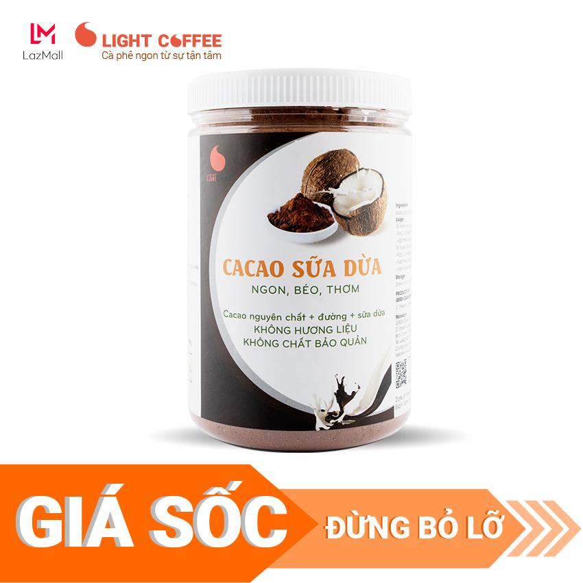 [SƯU TẦM MÃ GIẢM 20%] Bột cacao dừa đậm đà thơm ngon, đặc biệt không pha trộn hương liệu, Light Cacao, pha chế tiện lợi, dạng hũ dễ bảo quản 550g