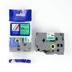 Nhãn in CPT-751 tương thích máy in nhãn Brother P-Touch – Nhãn in chữ đen nền xanh lá khổ 24mm