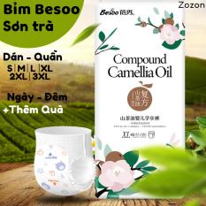 Bỉm Besoo sơn trà chính hãng tã dán bỉm quần ngày và đêm nội địa trung đủ size S M L XL 2XL 3XL cho trẻ sơ sinh Zozon