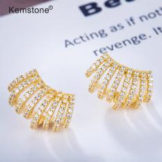 Kemstone Bông tai nữ mạ vàng thiết kế đính pha lê toàn bộ, dùng làm quà tặng cho nữ, kích thước bông tai 10mm – INTL