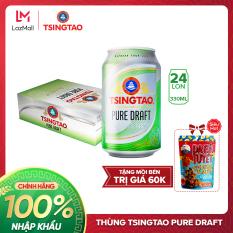[TẶNG MỒI BÉN] – Thùng 24 lon Bia Tsingtao Pure Draft – Độ cồn 4.3% – Bia Thanh Đảo Nhập khẩu chính hãng 100%