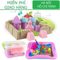 Bộ đồ chơi Cát động lực vi sinh tạo hình LÂU ĐÀI gồm: Hộp nhựa + 0,8kg Cát + Bể hơi + Đủ khuôn KamiHome vận chuyển