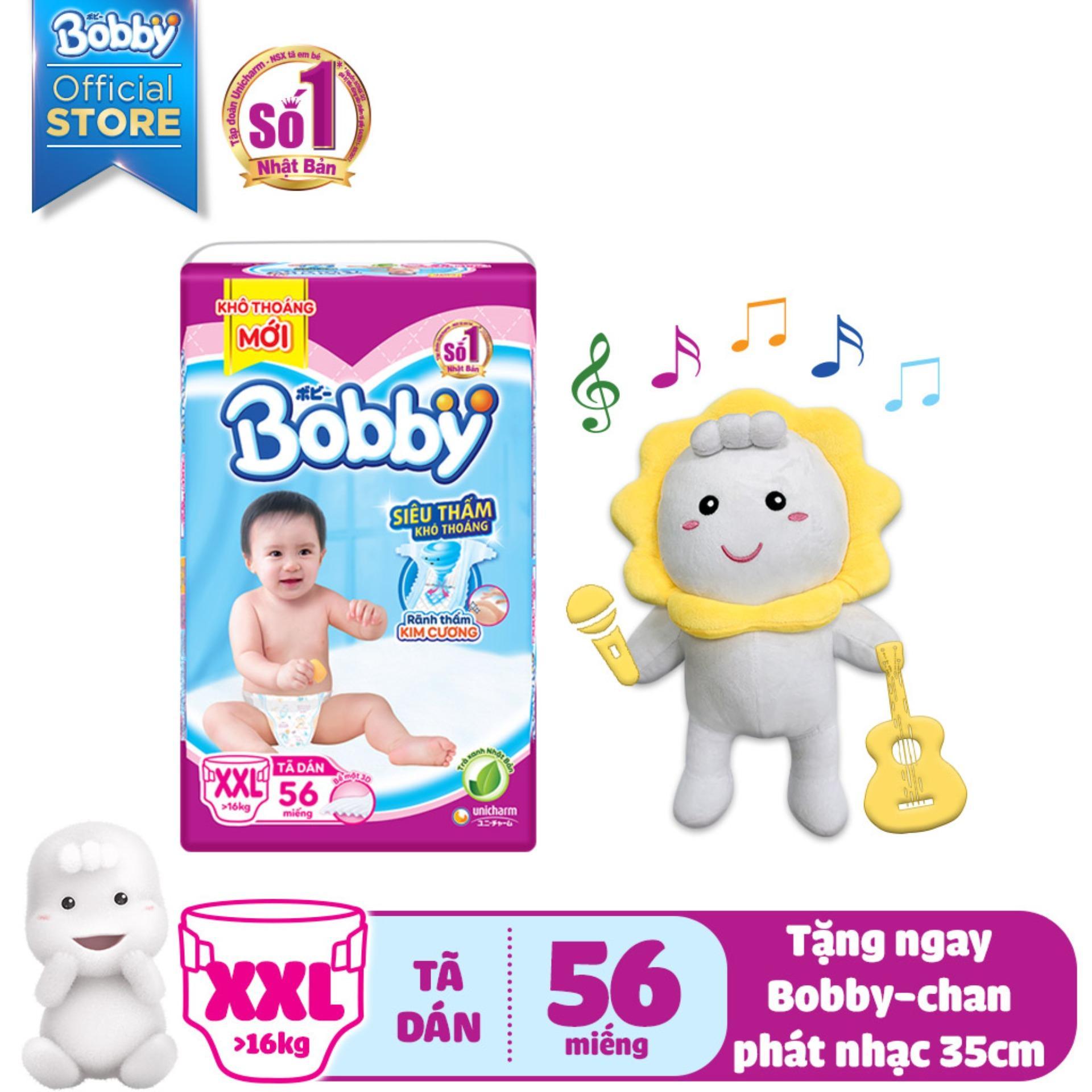 [KÈM QUÀ] Tã/Bỉm dán Bobby (rãnh thấm kim cương) gói siêu lớn XXL-56 miếng (>16kg) - Tặng Bobby-chan biết hát...