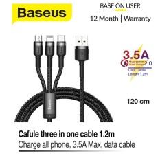 Cáp sạc 3 đầu Basesus Kevlar 3 trong 1 USB – Lightning dành cho iPhone XR X Xs Max – Cáp sạc đa năng sạc nhanh đầu USB Type C cho Samsung S9 S10 Xiaomi – đầu Micro USB cho hầu hết điện thoại