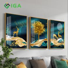 Tranh treo tường 3 bức phong cảnh tráng gương sáng bóng hiện đại thường hiệu IGEA- GD43