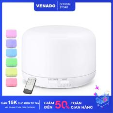 [Dung tích lớn] Máy xông tinh dầu hình trụ tròn 500ml và 300ml nhựa abs có remote led 7 màu tự động tắt khi hết nước Venado