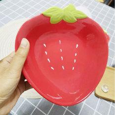 Đĩa gốm sứ tráng men hình trái dâu tây