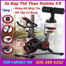 Xe đạp thể thao Toshiko X9 tặng hít bụng, xe đạp tập thể dục Toshiko X9 tặng đồng hồ nhịp tim + hít tập bụng – bảo hành 36 tháng