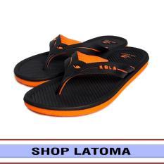Dép xỏ ngón, dép tông, dép kẹp, dép nam đế 2 lớp phối màu độ bền cao thời trang cá tính Latoma TA1881 (Đen phối Cam)