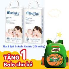 [Mua 2 tặng 1] Hộp tã vải MACHIKO 50×2 miếng tặng 1 balo Milo cao cấp cho học sinh tiểu học