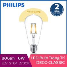 Bóng đèn Philips LED Classic 6W 2700K E27 ST64 (Ánh sáng vàng)