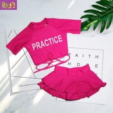 (Tặng kính + phao bơi) Bộ đồ bơi bé gái ngắn tay quần giả váy đáng yêu 30-41kg – Đồ bơi 2 mãnh màu hồng – Đồ bơi trẻ em – Hương Nhiên