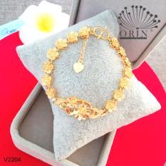 Vòng tay nữ, lắc tay nữ bền màu lắc hoa mai màu 24 thiết kế cao cấp Orin V2204