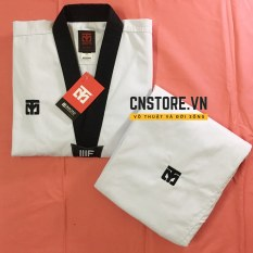 Võ Phục Taekwondo Cổ Đen Vải Sọc Mooto Loại Tốt