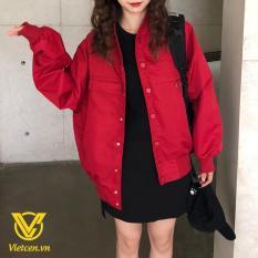 Áo khoác bomber kaki nữ đỏ đô