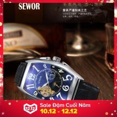 Đồng hồ cơ nam dây da lộ máy SEWOR cổ điển 5 kim MDL-SE01