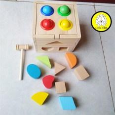 Đồ chơi cho bé,hộp thả hình đập bóng bằng gỗ giúp bé phân loại màu sắc hình khối và kỹ năng vận động