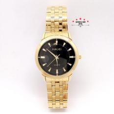 Đồng hồ nam HALEI dây kim loại thời thượng ( HL502 dây vàng mặt đen ) – TẶNG 1 vòng tỳ hưu phong thuỷ