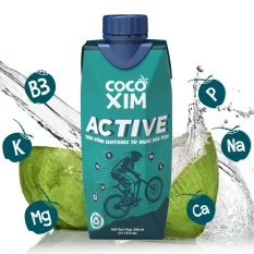 [BÙ NƯỚC – BÙ KHOÁNG] – Thức uống thể thao Isotonic Active đóng hộp từ 100% Dừa tươi nguyên chất ND0003 – Thương hiệu COCOXIM – dung tích 330ml/hộp – AZAGO