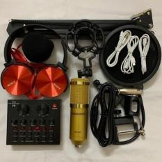 Combo bộ hát thu âm cao cấp V8 bluetooth mic BM-900 hát cực hay livestream micro kèm chân kẹp màng lọc tặng tai nghe J-08