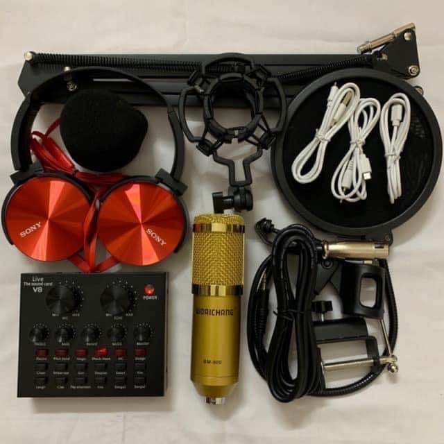 Combo bộ hát thu âm cao cấp V8 bluetooth mic BM-900 hát cực hay livestream micro kèm chân kẹp màng...