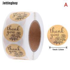 Cuộn 500 miếng dán chữ cảm ơn Jettingbuy hoạ tiết hoa hồng dùng đóng gói quà tặng niêm phong phong bì – INTL