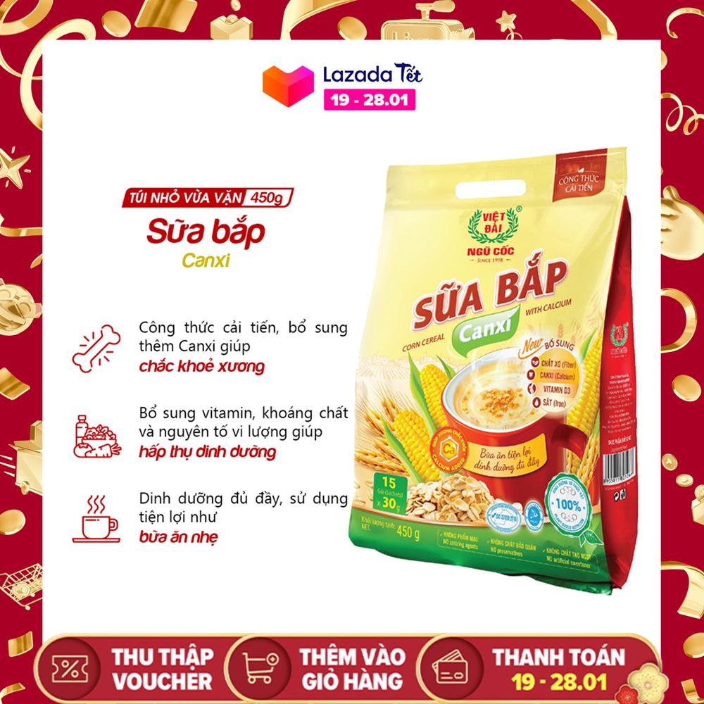 Bột ngũ cốc Sữa bắp Canxi Việt Đài túi 450g (công thức cải tiến)
