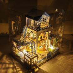 Mô hình nhà gỗ nhà búp bê Tình yêu với biển TYU DiyMiniture