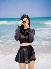 Bô đồ bơi áo tay dài váy xòe, đồ bơi nữ đẹp màu đen SAVVY SHOP
