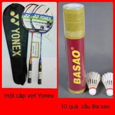 Bộ vợt cầu lông Yonex cao cấp và Hộp cầu lông ba sao 10 quả