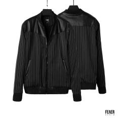 Áo khoác Bomber nam họa tiết FEAER vải Bố line thoáng mát, không nhăn form suông Leather mixed Jacket |new arrival 2021|