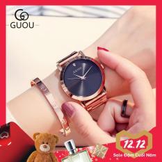 Đồng hồ nữ GUOU dây thép mặt trơn đính đá cao cấp sang trọng quý phái IW-G8172 (full box)