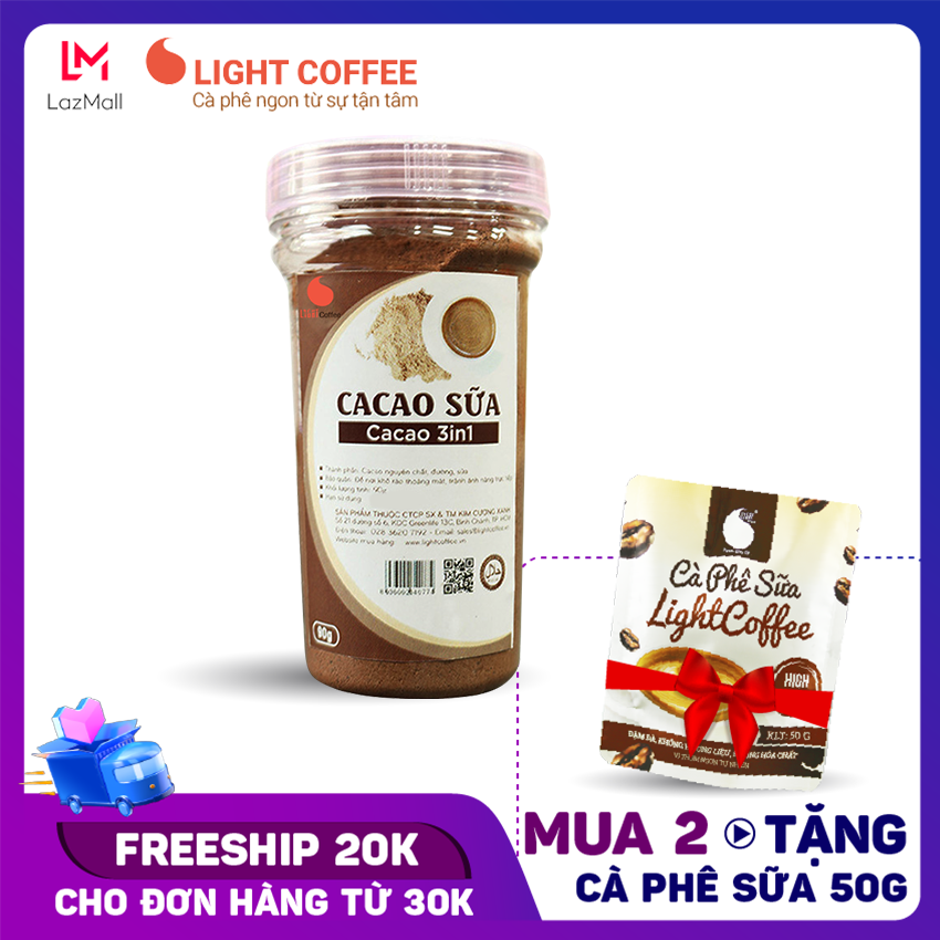 [MUA 5 TẶNG CÀ PHÊ SỮA] Bột cacao sữa 3in1 , cacao sữa hòa tan cung cấp năng lượng thiết yếu , tốt cho sức khỏe Light Cacao – Hũ 90gr