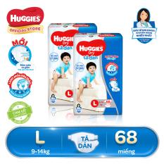 Bộ 2 Tã/bỉm dán Huggies Dry Super Jumbo L68 (Đệm mây co giãn) – Gói 68 miếng (Cho bé 9kg – 14kg)