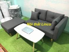 Pk – Bộ ghế sofa băng nằm đa năng xám đen cổ vịt 1m95 và bàn chữ nhật, ghế sofa phòng khách, salon, sopha, sa lông, sô pha