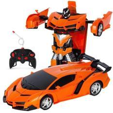 Xe ô tô điều khiển biến hình thành Robot Transfommer dài 23cm