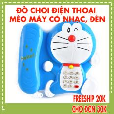[HCM]Điện thoại đồ chơi hình chú mèo máy xanh dương dùng pin có nhạc đèn đáng yêu cho bé 127 – Thị trấn đồ chơi