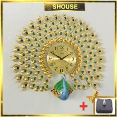 Đồng hồ treo tường SHOUSE A25 tặng máy kim trôi thay thế, hình con công hiện đại, chất liệu kim loại màu vàng, kích thước 72cm