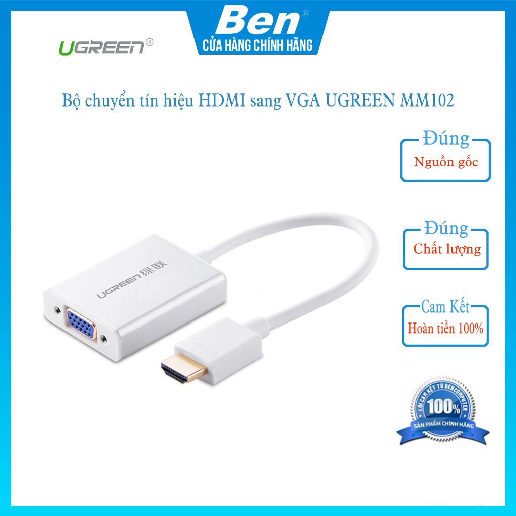 Bộ chuyển tín hiệu HDMI sang VGA kèm theo âm thanh dài 15CM UGREEN MM102 – Ben computer store