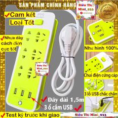 Ổ Cắm Điện Đa Năng USB | Ổ Điện 6 Lỗ Và 3 Cổng Sạc USB | Ổ cắm điện đa năng thông minh Xanh Lá